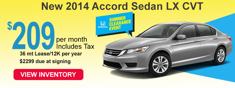 2014 Accord LX lease 209 a month