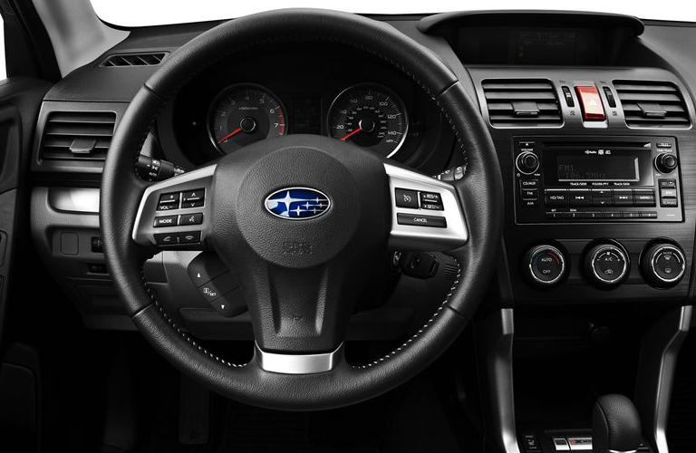 leather interior and dash of subaru forester