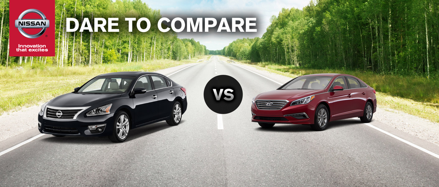 2014 Nissan Altima vs 2015 Hyundai Sonata makes some scratch their head, but come to Continental Nissan to see why we think the Altima wins in our eyes.