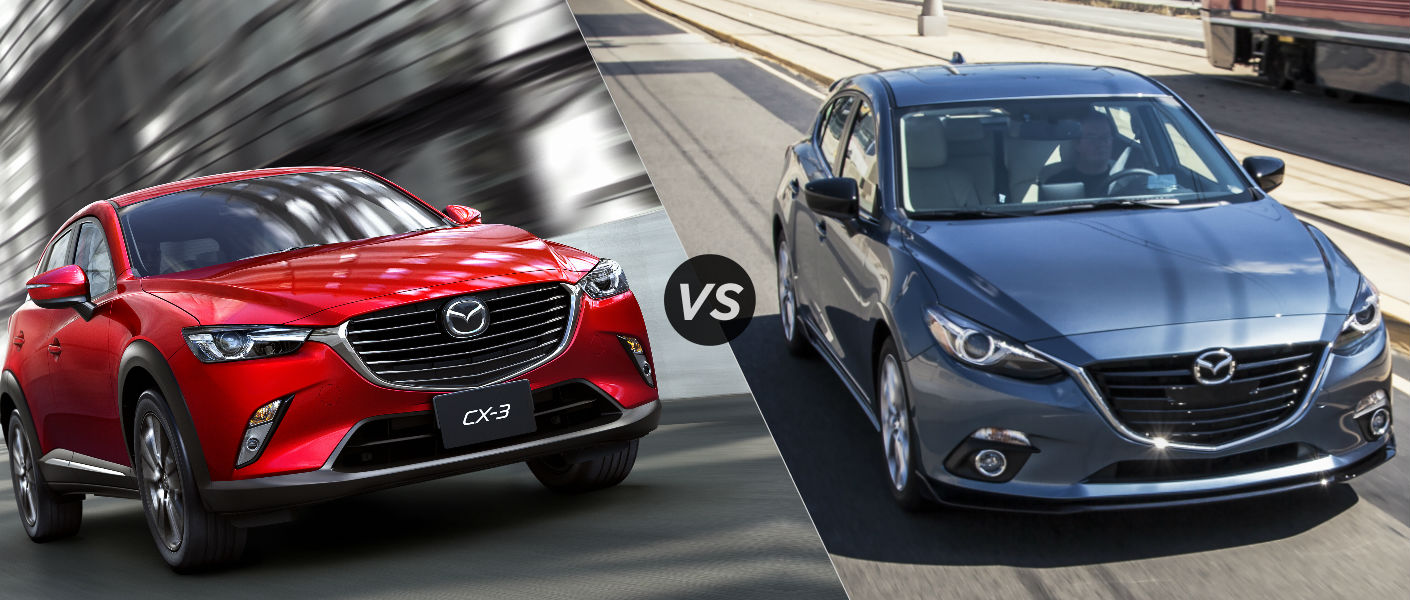 Compare the versatile 2016 Mazda CX3 vs 2015 Mazda 3 hatchback.