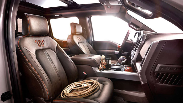 Interior view of the 2015 Ford F-150 truck