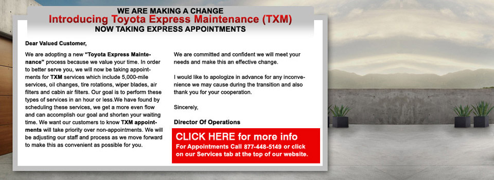 Toyota of Naperville Express Maintenance