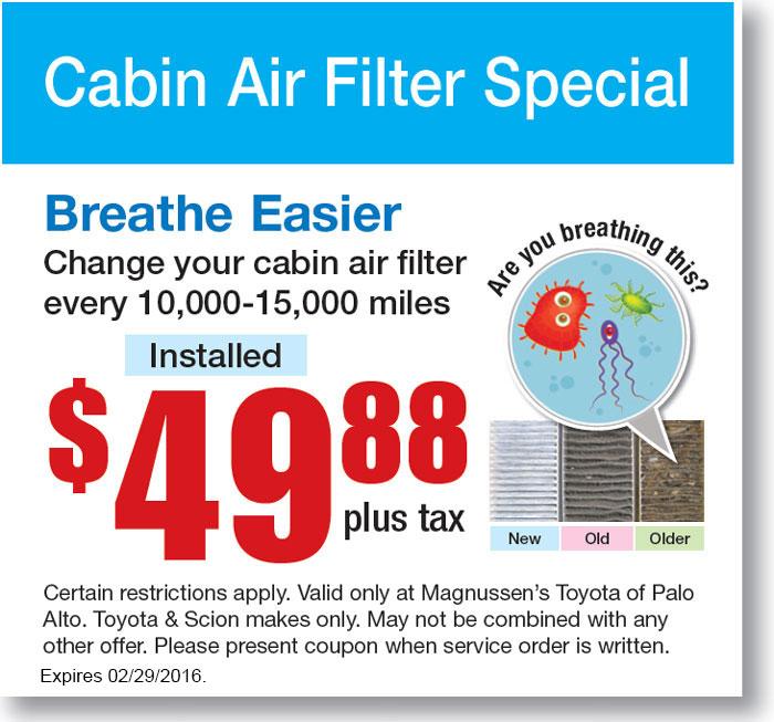 Toyota Cabin Air Filter Coupon