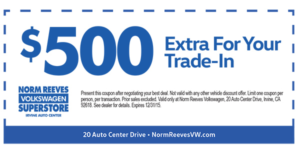 norm reeves vw coupon